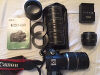 Canon EOS 60D with two lenses.