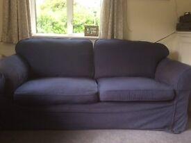 Sofa , dark blue washable covers. L 210 H 80 W 90 comfortable