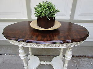 ANTIQUE SHABBY CHIC 2 TONE HALL TABLE  WITH UNIQUE GRAIN  TOP