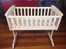 Ascot White Timber baby cradle with mattress Jilliby Wyong Area Preview