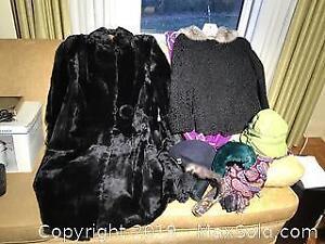 Ladies Black Fur coat, Lambs Wool Jacket, vintage hats