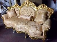 Fabulous gold French rococo style 3 piece suite
