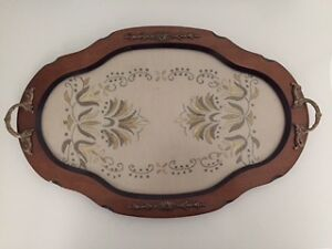 VINTAGE HAND STICHED WOODEN SERVING TRAY