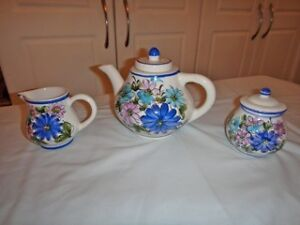 Hand-painted China Teapot with Cream and sugar