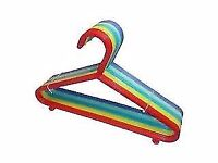 50 colourful childrens hangers - Various colours