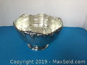Silverplate Rose Bowl With Glass Insert And Frog