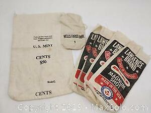 Vintage cloth Coin bags and Buckshot Canvas Sacks