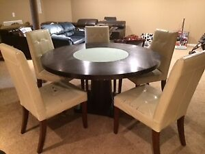"""60"""" Round Dining Table with Five Chairs"""