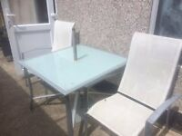 Patio Table, 2 x chairs and Brolly