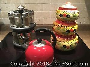 Spice Rack Kettle Canister Set B