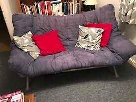 Blue double sofa bed.