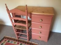 pine desk/ dressing table in F&B Earth Red