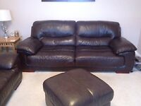 Brown Leather 3 + 2 Seater Sofa's with footrest