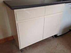 Drawer line Kitchen unit, Grey worktop and shelf
