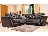 TODAY DELIVERY FREE CUSHIONS/POUFFE/CHROME FEET NEW DFS SHANNON CORNER/3+2 SOFA CUDDLE CHAIR