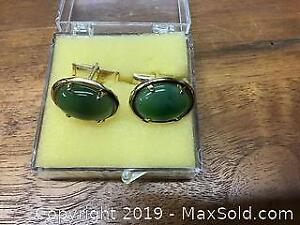 Pair of vintage green stone Cuff links