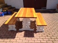 SHABBY CHIC DINING TABLE AND BENCHES