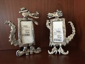 Pair of Whimsical Alligator Picture Frames