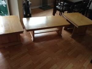 Solid Oak Coffee Table & 2 End Tables $150 or best offer