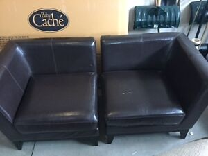 Two Leather Chairs - Loveseat, Slightly Damaged Windsor Region Ontario image 1