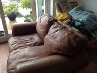 Furniture Village Brown Leather Sofa
