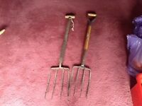 Pick axe and 2 digging forks