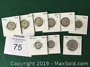 7 Italian and 2 Vatican Coins 1908 to 1951 A