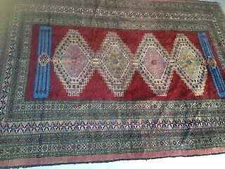 Persian Rug Antique Hand Woven Silk And Wool In Vgc
