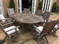 Westminster teak garden oval extendable table and 8 chairs