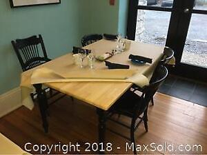 Four Legged Wood Table And Chairs A