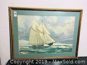 Print of Bluenose Schooner by OK Schenk