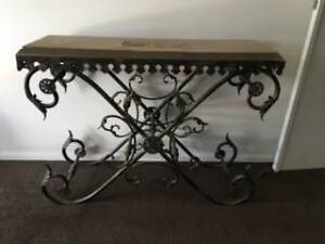 Beautiful ornate wrought iron and cement top hall table Hope Island Gold Coast North Preview