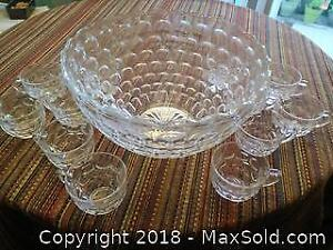 Crystal large bowl with 12 tea cups