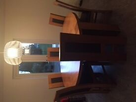 large dining table with chairs- seats 6 ,walnut colour, high back chair with leather RRP £2800 2014