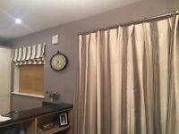 Cream/ black stripe curtains and Roman blind