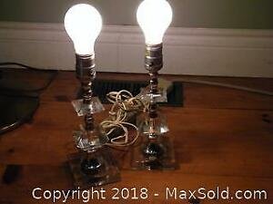 2 Old Crystal Glass Lamps