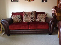 LEATHER/FABRIC 3-SEATER SOFA AND CHAIR