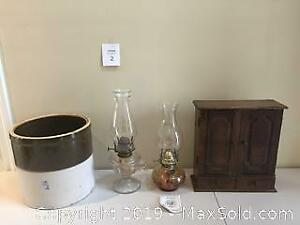 2 Vintage Oil Lamps, wooden sewing box and #3 Crock