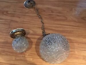 Vintage Light Set  (2) Cut Glass Bulb Style