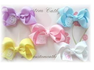 set of 5 monogrammed baby toddler bows-Great Gift!!