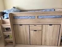 NEXT COMPTON CHILDREN'S HIGH BED COMPLETE WITH DESK, CUPBOARD, WARDROBE AND SHELVES BUILT IN.