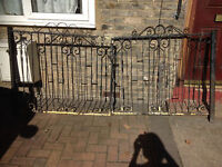 Pair of wrought iron gate or use as railings,..... complete with catches and posts