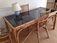 CANE/GLASS DINING TABLE WITH CHAIRS