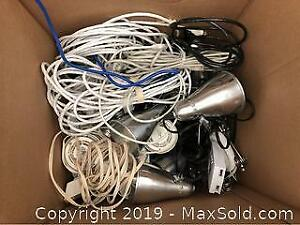 Assorted Ethernet Cables Extension Cables Lights
