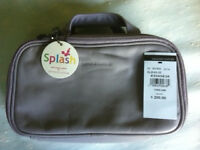 Smith and Canova Luxury Grey Twin Compartment Soft Leather Splash Travel Washbag - NEW