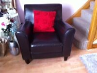 Armchair, chocolate Brown Faux Leather