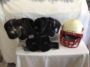 Football Helmet and Wide Receiver Shoulder Pads