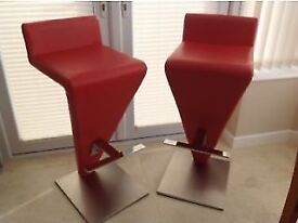Quirky bar stools for sale. Red faux leather.