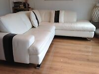 Corner Sofa in White Real Leather