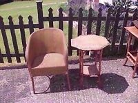 Wicker Chair and Side Table Great Condition Delivery Available £10